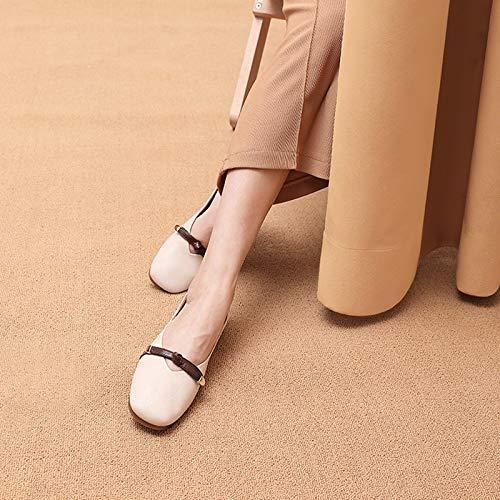 Damenschuhe Herbst Retro Square Head Oma Schuhe Flacher Mund