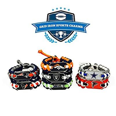 Grid Iron Sports Charms Dog Tags NFL Paracord Bracelets (2) Pack