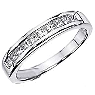 0.75 Carat (ctw) 14k White Gold Princess Diamond Ladies Anniversary Wedding Stackable Ring Band 3/4…