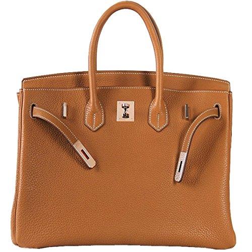 Padlock Classic Handle Brown Genuine Leather GSHGA Handbags Top And European American nf8AqpWI