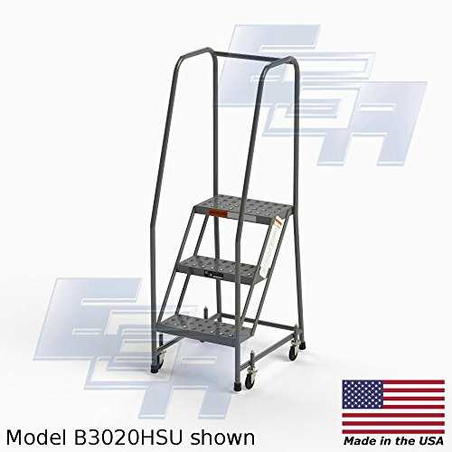 FULLY ASSEMBLED 3-step Steel Industrial Rolling Ladder, EGA B3020HSU, 16