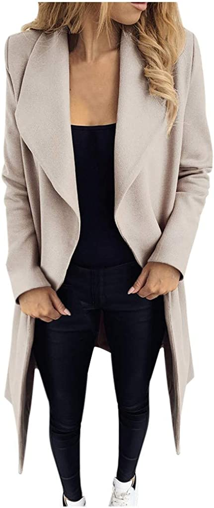 GREFER-Women Casual Oversized Loose Fit Big Lapel Open Front Cardigans Hairy Long Jacket Suit Pea Coat