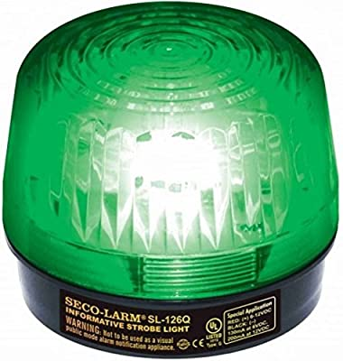 """SECO-LARM SL-126Q/G Green Strobe Light; For 6- to12-Volt use; For """"informative"""" general signaling requirements; Incorrect polarity cannot damage circuit ordraw current; Easy 2-wire installation, regardless of voltage from SECO-LARM"""