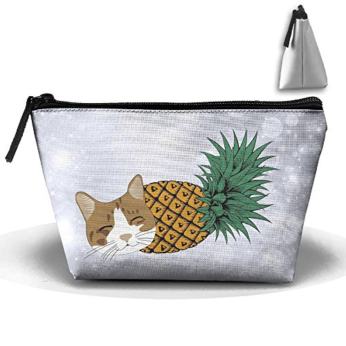 Sleeeping Pineapple Cat Trapezoid Travel Storage Pouch Oxford Cloth Comestic Bag Portable Handy Kit Packing Organizer - Union Square Target