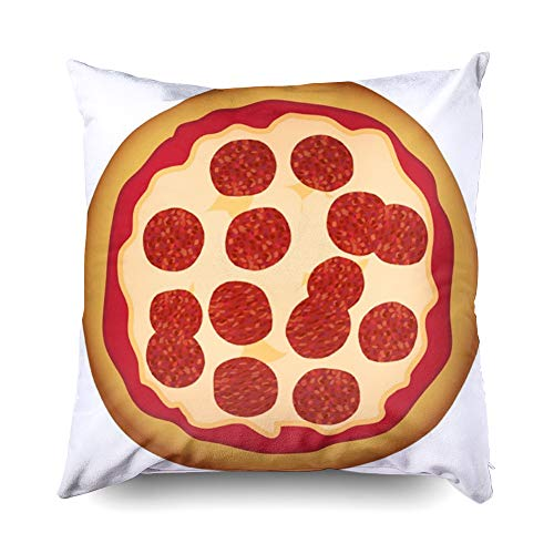 Shorping Zippered Pillow Covers Pillowcases 18X18 Inch Halloween Round Pepperoni Pizza Microwave Recipe Decorative Throw Pillow Cover,Pillow Cases Cushion Cover for Home Sofa -