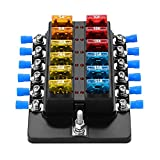 #4: Weiruixin Blade Fuse Block Box Holder 12 Way With LED Indicator for Blown Fuse Suitable For Automotive Marine Boats