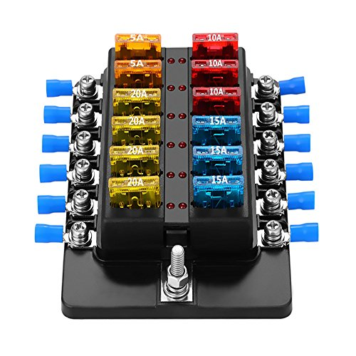 Blade Fuse Block Box Holder 12 Way With LED Indicator for Blown Fuse Suitable For Automotive Marine Boats Weiruixin (12way)