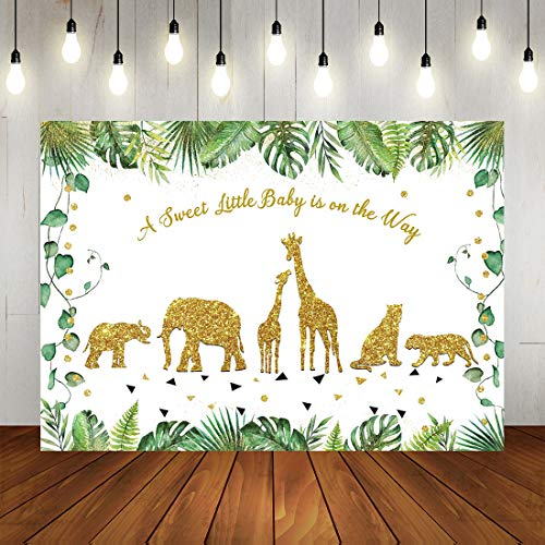 Safari Baby Shower Backdrop Golden Glitter Animals Watercolor Plam Tress Baby Shower Background for Photography Jungle Theme Baby Shower Party Decorations Photo Props 7x5ft]()