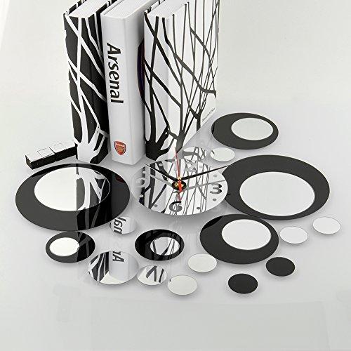 soledi reloj de pared de metal con efecto de espejo adhesivo vinilo cudrados plata negro decoracion moderno sala saln dormitorio amazones hogar