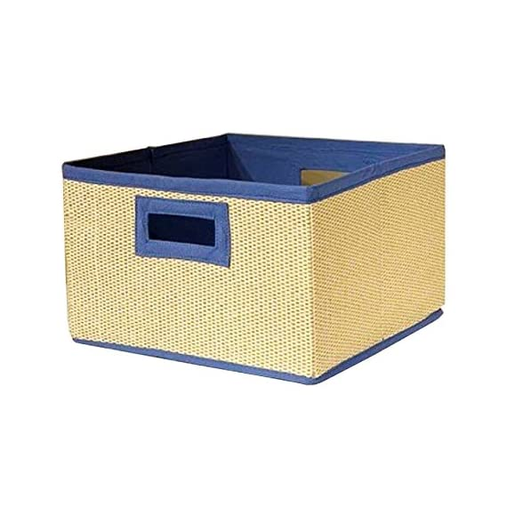 Alaterre AB3200BLU Natural Storage Baskets with Blue Trim, Set of Three - Woven Basket lined with cotton Available in 6 colors - Pink, Purple, Lime, Red, Blue and Black Packaged in sets of three - living-room-decor, living-room, baskets-storage - 51HTMboS%2BLL. SS570  -