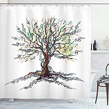 enchanted forest decorations.htm amazon com ambesonne music shower curtain  musical tree autumnal  ambesonne music shower curtain
