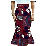 Abetteric Womens Mermaid Midi Dashiki Africa Floral Printed Fit Bodycon Skirt 3 L