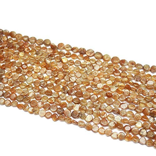(5 Strand Natural Sunstone Smooth Round Coin Gemstone Craft Loose Beads 14