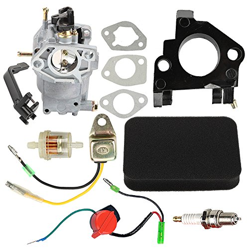 Hilom 0J58620157 Carburetor with Air Filter Insulator Oil Sensor for Generac GP5500 GP6500 GP6500E GP7500E 8125W Jingke Huayi Kinzo Ruixing 13HP 14HP 15HP 16HP 188F 190F Portable Generator