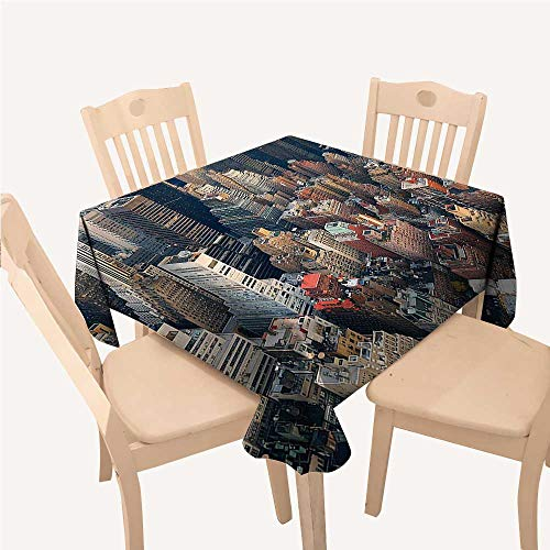 WilliamsDecor NYC Decor Collection Asian Tablecloth Manhattan Skyline Aerial View with Street Skyscrapers Avenue and Buildings SceneBeige Gray Brown Square Tablecloth W60 xL60 inch ()