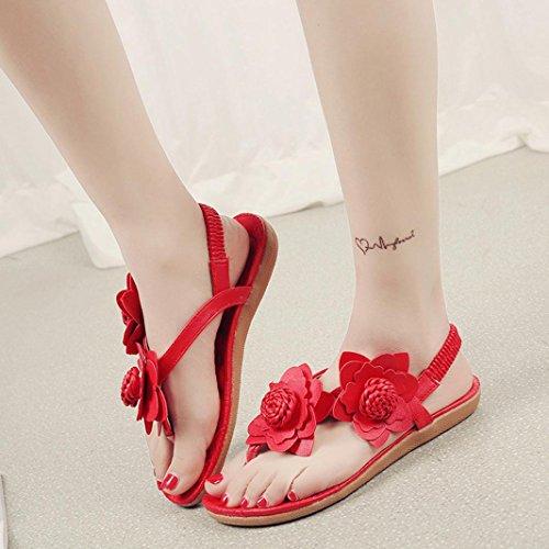 Sandalias de vestir, Ouneed ® Las mujeres flores Bohemia sandalias Peep-Toe suave ojotas Rojo