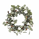 FAVOWREATH Vitality Series FAVO-W48 Handmade 16 inch Green Leaf,Cotton Dry Branch Wreath For Summer/Fall Festival Celebration Front Door/Wall/Fireplace Laurel/Eucalyptus Hanger Home Relaxed Decor