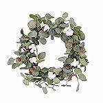 FAVOWREATH-2018-Vitality-Series-FAVO-W48-Handmade-15-inch-Green-LeafCotton-Grapevine-Wreath-for-SummerFall-Festival-Celebration-Front-DoorWallFireplace-LaurelEucalyptus-Hanger-Home-Relaxed-Decor