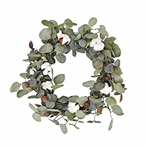 FAVOWREATH 2018 Vitality Series FAVO-W48 Handmade 15 inch Green Leaf,Cotton Grapevine Wreath For Summer/Fall Festival Celebration Front Door/Wall/Fireplace Laurel/Eucalyptus Hanger Home Relaxed Decor 76