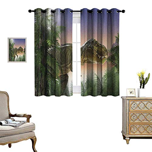 Warm Family Jurassic Patterned Drape for Glass Door Dinosaur in The Jungle Trees Forest Nature Woods Scary Predator Violence Waterproof Window Curtain W72 x L72 Green Blue Peach