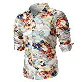 Big Promotion Fashion Mens Shirts vermers Personality Mens Casual Slim Long Sleeve Printed Shirt Top Blouse(2XL, Beige)