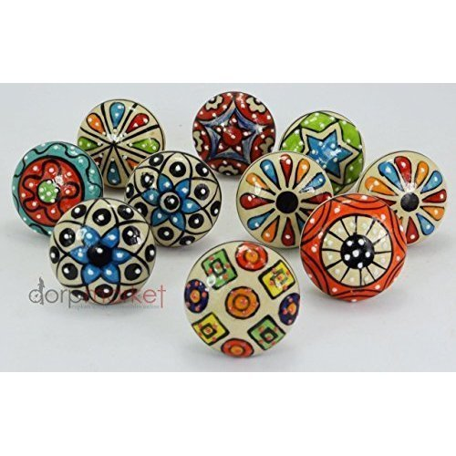 DIYANA IMPEX 10 Pieces Set Dotted Ceramic Cabinet Colorful Knobs Furniture Handle Drawer Pulls
