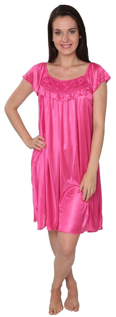 Beverly Rock Women's Solid Tricot Long Shiny Satin Silky Nightgown S9032 Fuchsia 3X