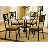 5pc Round Metal Dining Table & Chairs Set in Dark Bronze Finish