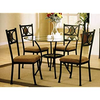 This Item 5pc Round Metal Dining Table U0026 Chairs Set In Dark Bronze Finish