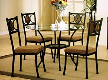 5pc Round Metal Dining Table U0026 Chairs Set In Dark Bronze Finish