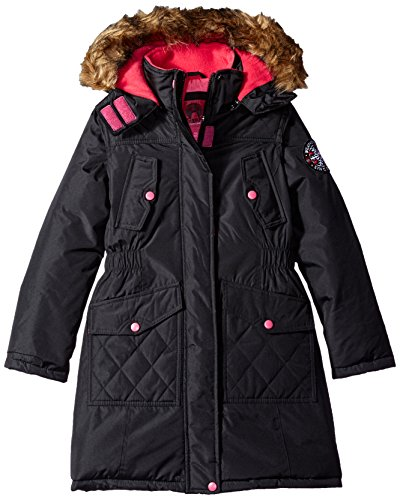 Weatherproof Big Girls' Outerwear Jacket (More Styles Available), Black with Button Flap Chest Pockets a, 7/8