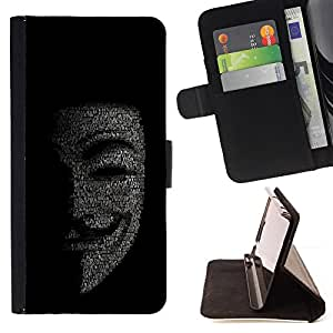 Mask Anonymous Hacker Code Tech Robot - Painting Art Smile Face Style Design PU Leather Flip Stand Case Cover FOR Samsung Galaxy Core Prime @ The Smurfs