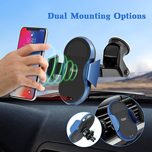 Wireless Car Charger, Automatic Qi Wireless Dashboard Car Mount Wireless Charger Phone Holder 7.5W for iPhone X/8/8 Plus, 10W for Samsung Galaxy S9/S9+/Note 8/S8/S8 Plus, 5W for All QI standard Device by TopMoon (Image #2)