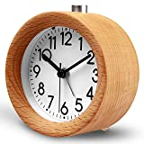 clock table - HaloVa Alarm Clock, Creative Fashion Silent Non Ticking Sweep Second Hand Bedside Desk Wooden Alarm Clock with Nightlight for Bedroom, Battery Operated