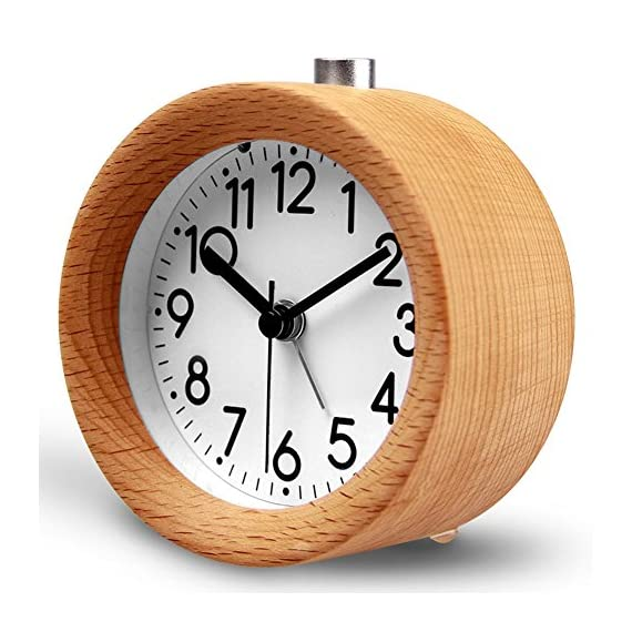 HaloVa Alarm Clock, Creative Fashion Silent Non Ticking Sweep Second Hand Bedside Desk Wooden Alarm Clock with Nightlight for Bedroom, Battery Operated -  - clocks, bedroom-decor, bedroom - 51HTOYh JvL. SS570  -