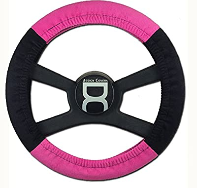 Black and hot pink steering wheel cover