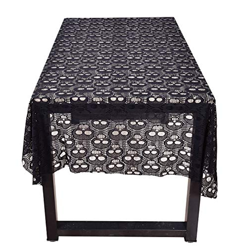 leegleri Black Lace Tablecloth for Rectangular Skull Tablecloth Overlays for Kitchen Dinner Parties Festive Supplies (60 in x 84 in ) -