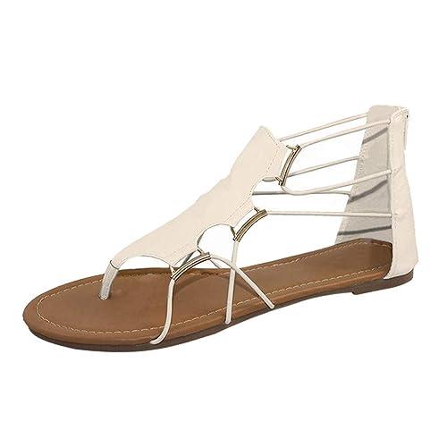 Sandalias Mujer Verano 2019 Logobeing Moda Mujer Verano Retro Ronda Toe Zapatos de Plataforma Plana Sandalias de Correa Cruzada Zapatillas: Amazon.es: ...