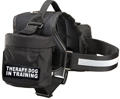 Therapy Dog in Training Harness with Removable Saddle Bag Backpack Harness Carrier Traveling. 2 Removable Patches. Please Measure Dog Before Ordering. ()
