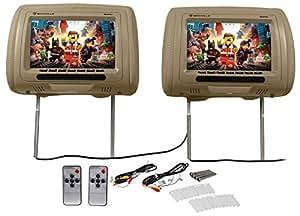 "amazon.com: pair rockville rhp91-bg 9"" digital panel biege ... vision dvd player wiring diagram headrest dvd player wiring diagram"