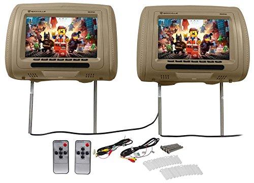 "Pair Rockville RHP91-BG 9"" Digital Panel Biege Car Headrest Monitors w/ Speakers"