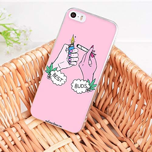 Pink Best Buds Iphone 7 Plus Case Biggwe Screen Smoking Weed Joint Stoner Girls Iphone 8 Plus Cover Marijuana Swag Bad Girls Iphone Back Case Best Friends Couples Chic Fashion Painting Slim