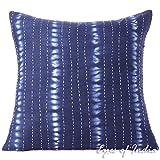 Eyes of India - 20'' Indigo Blue Kantha Cushion Shibori Sofa Couch Pillow Throw Cover Indian Bohemian Colorful Decorative BohoCover Only