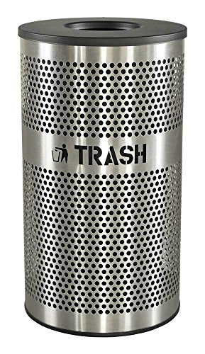 """Ex-Cell Kaiser VCT-33 PERF SS Venue Collection Outdoor Perforated Stainless Steel Trash Receptacle, 33 Gallon Capacity, 21"""" Diameter x 36"""" Height"""