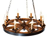 Cheap Wood Wheel Chandelier AIVENGO.Home Decor Farmhouse Decor Vintage Antique Country Retro Rustic Style for House Restaurant Hallway Bar Hall Club Hotel