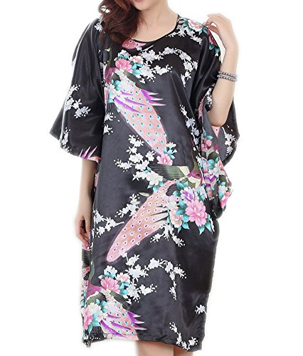 pamor Womens Chinese Floral Butterfly Peacock Opera Patterns Print Loose Housedress Nightgown Nightie (Peacock Black 7)
