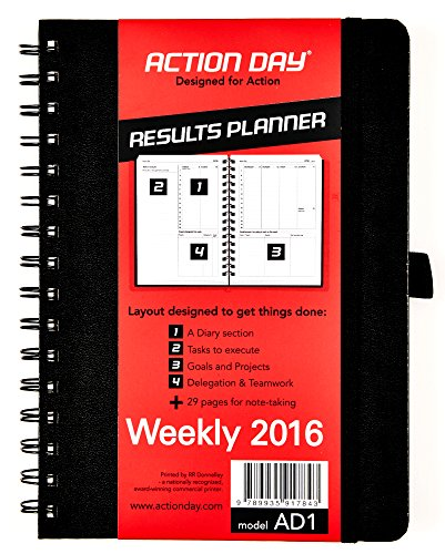 Action Planner Weekly Appointment Book (Action Day Planner 2016, Jan-Dec Calendar - Daily Weekly Yearly Organizer & Goal Journal (6x8 / Black /)