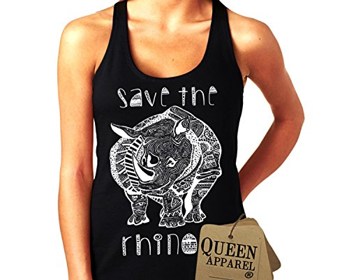 Queen Apparel- Save the rhino tank top U.S.A. womens (x-large, black)