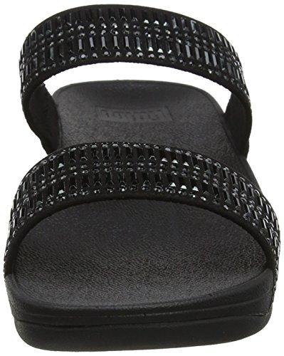 black Incastone 1 Slide Ouvert Bout Femme Sandals Noir Fitflop wHW01nSq0