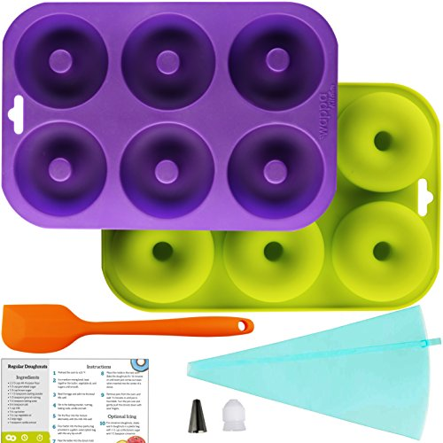 Professional 2-Pack Donut Pan Set | Makes 12 Full Size Donuts, BPA Free, Super Non-Stick | Pack Comes With 1 Spatula and 1 Pastry bag (Purple/Green) (Primo Pan Organic Cookies)